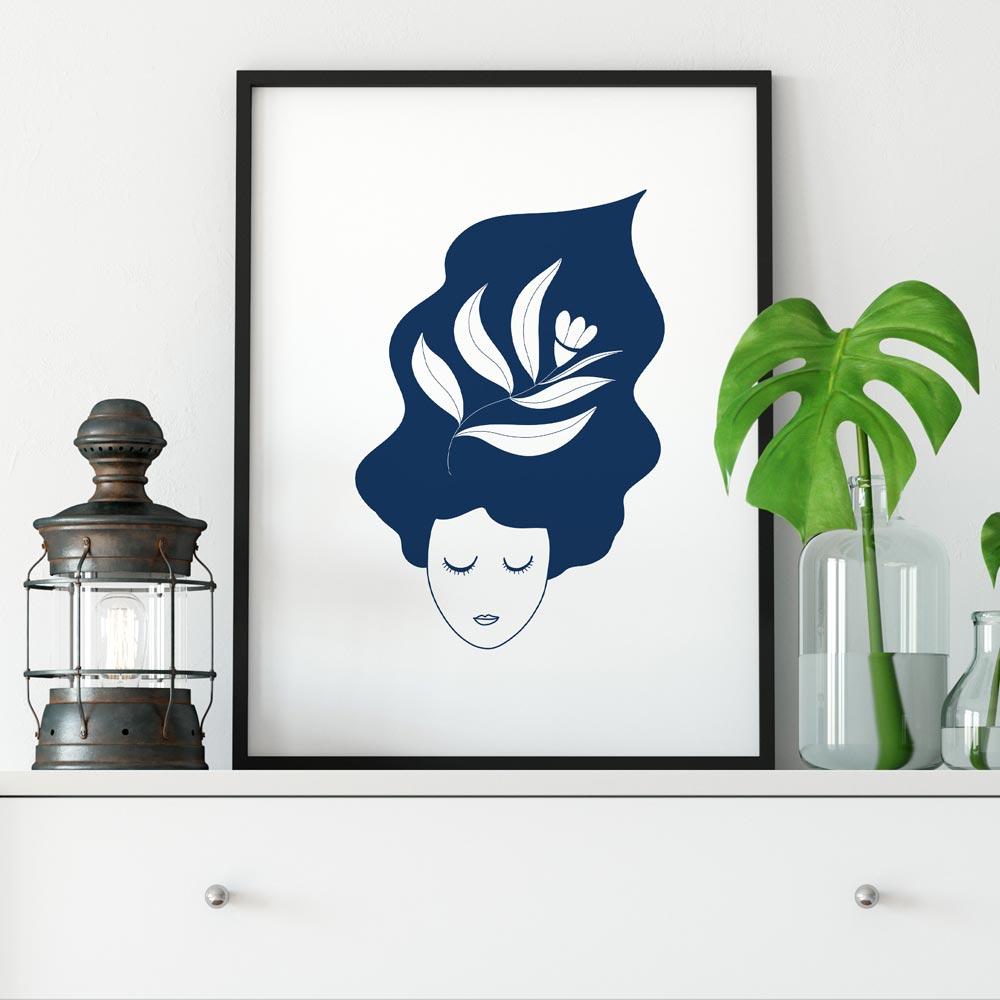 Thinking lady printable wall art