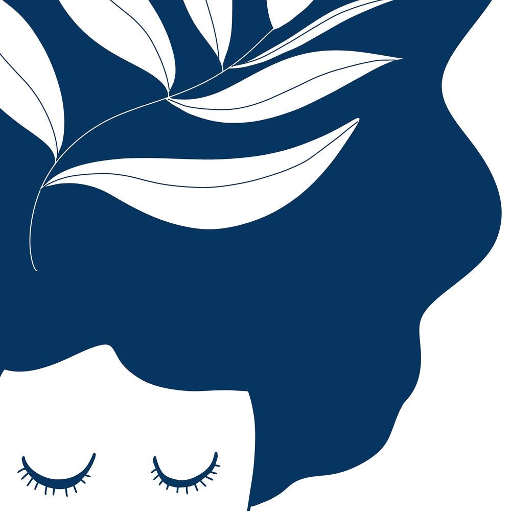 Blue thinking lady art wall detail