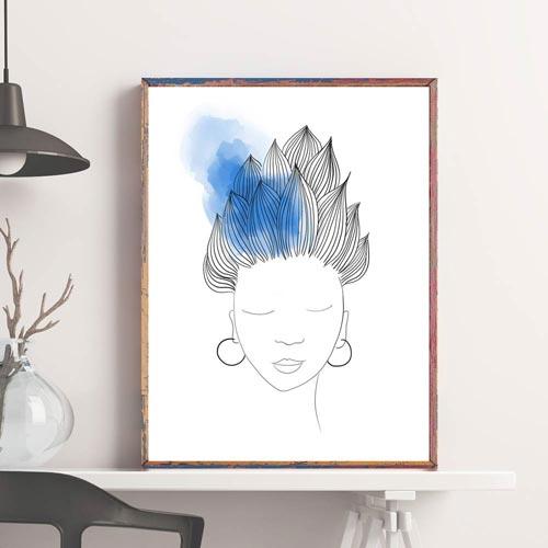 Blue hair woman wall decor