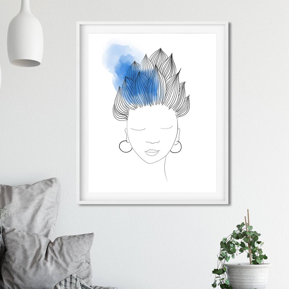 Blue hair woman wall art