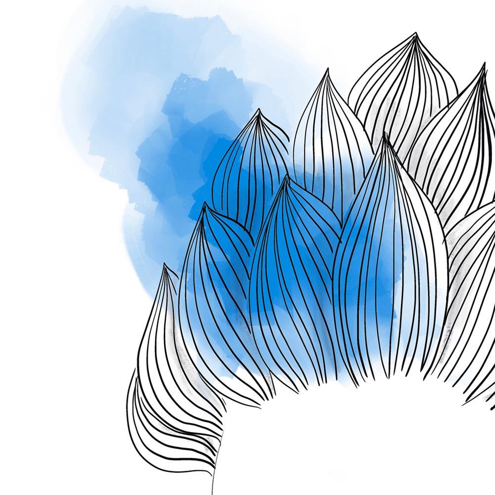Blue hair woman art wall detail