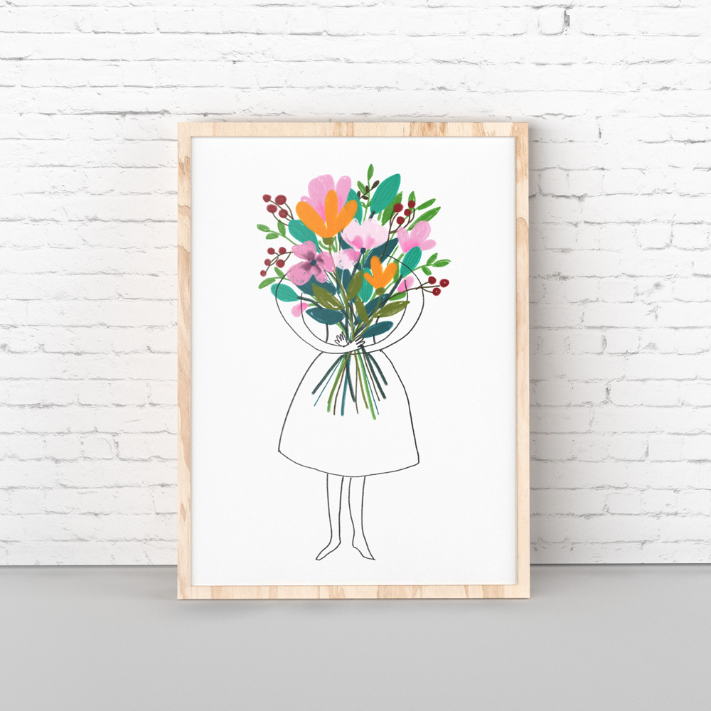 Woman with flowers art printable