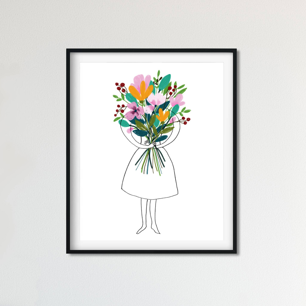 Floral bouquet Printable wall art frame