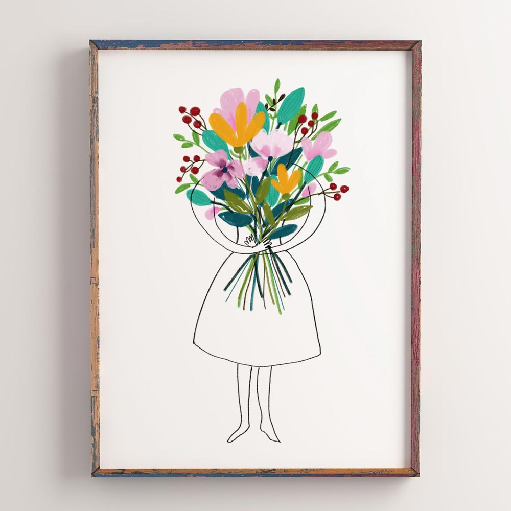 Printable Woman with flowers