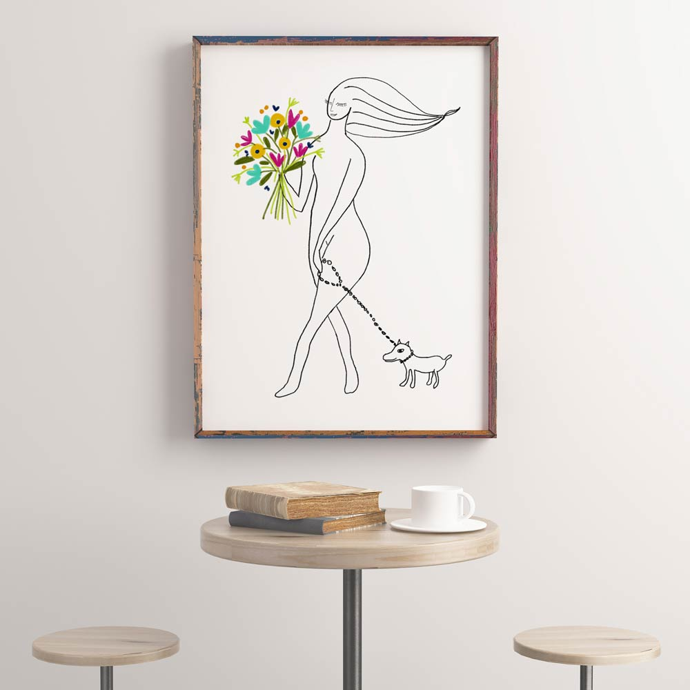 Girl with dog woman printable wall art