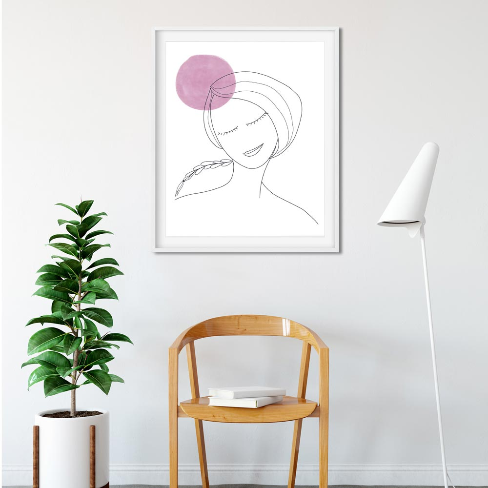 Thinking woman art wall in frame