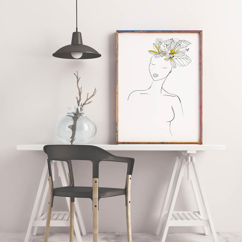 Yellow hair woman wall art