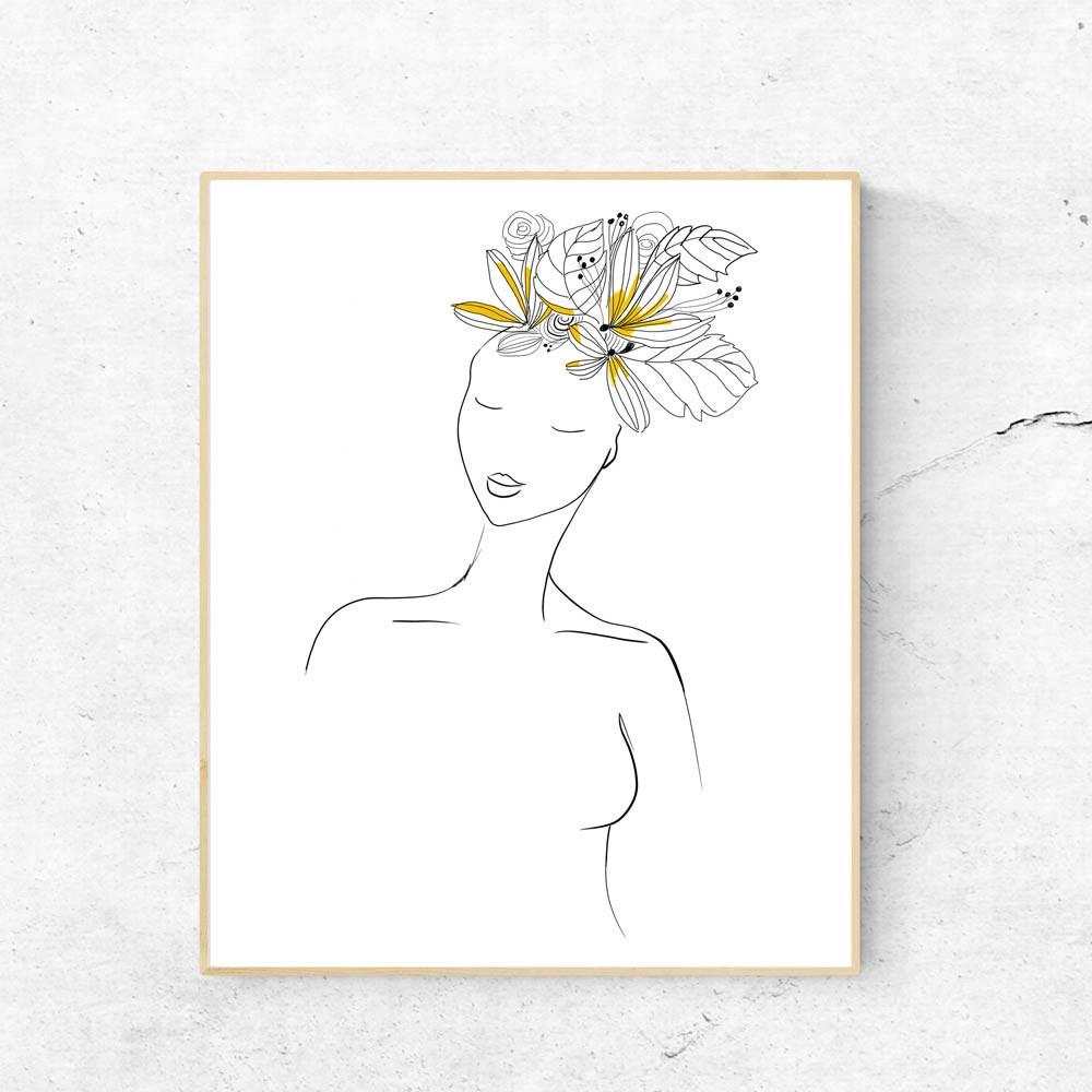 Yellow hair woman printable wall art