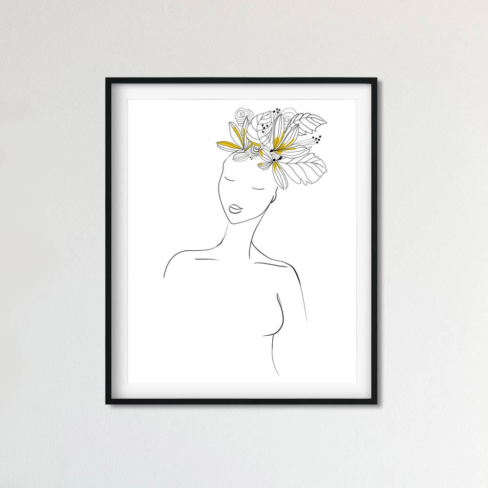 Yellow hair woman art wall in frame