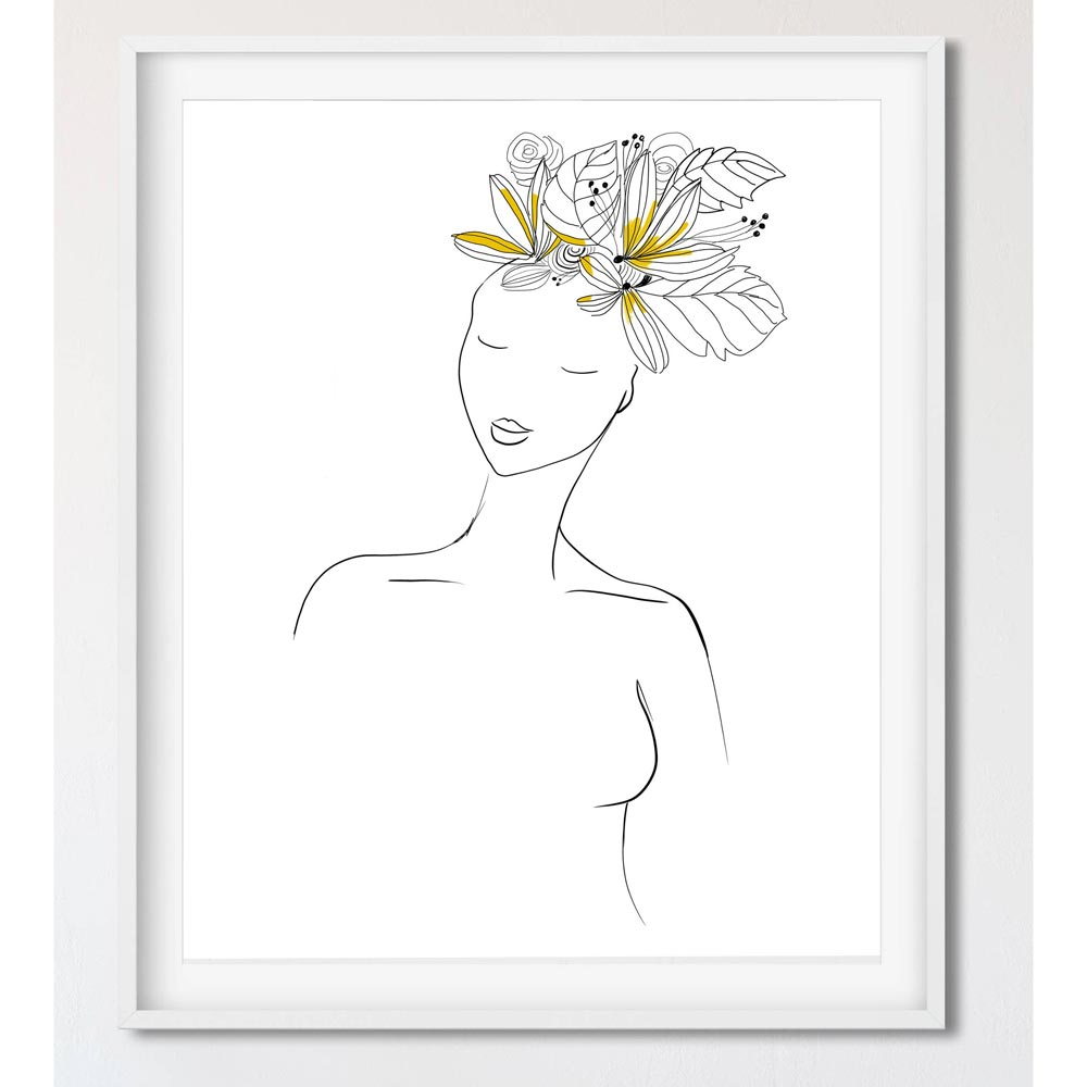 Yellow hair woman wall art decor