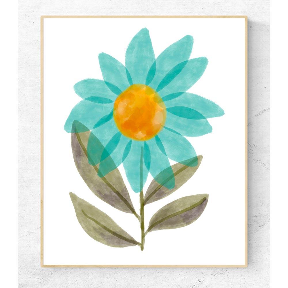 Flower printable art in frame