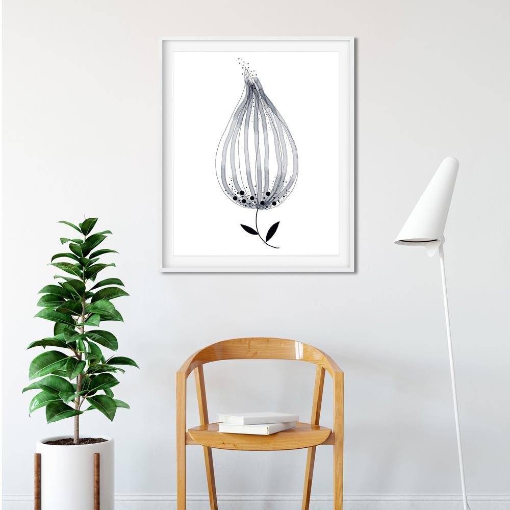 Monochrome flower printable art