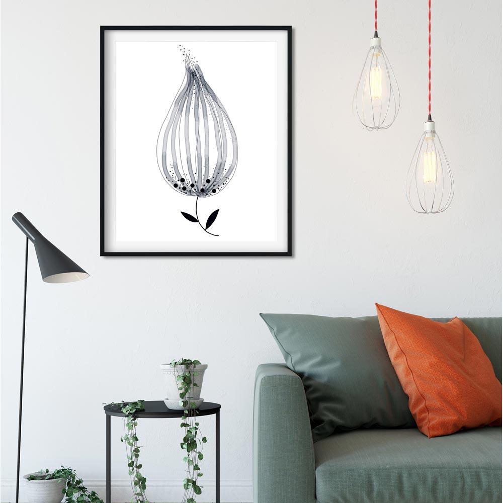 Monochrome flower printable art wall in frame
