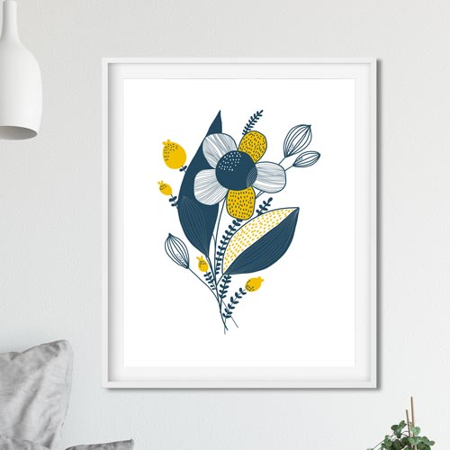 Blue yellow flower wall art