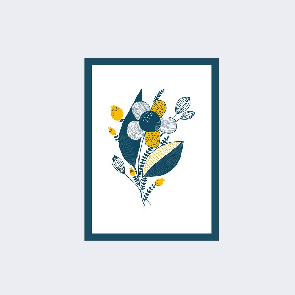 Blue yellow flower wall art ptint