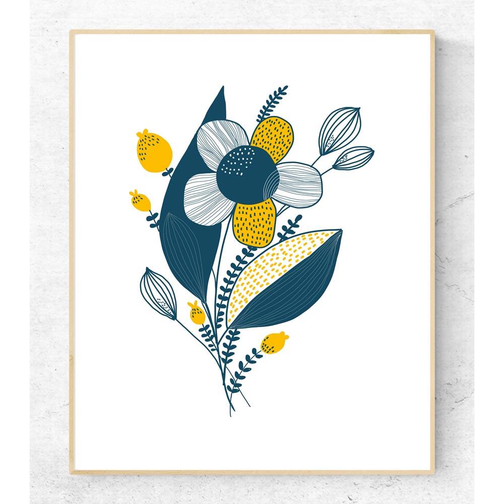 Blue yellow flower printable art frame