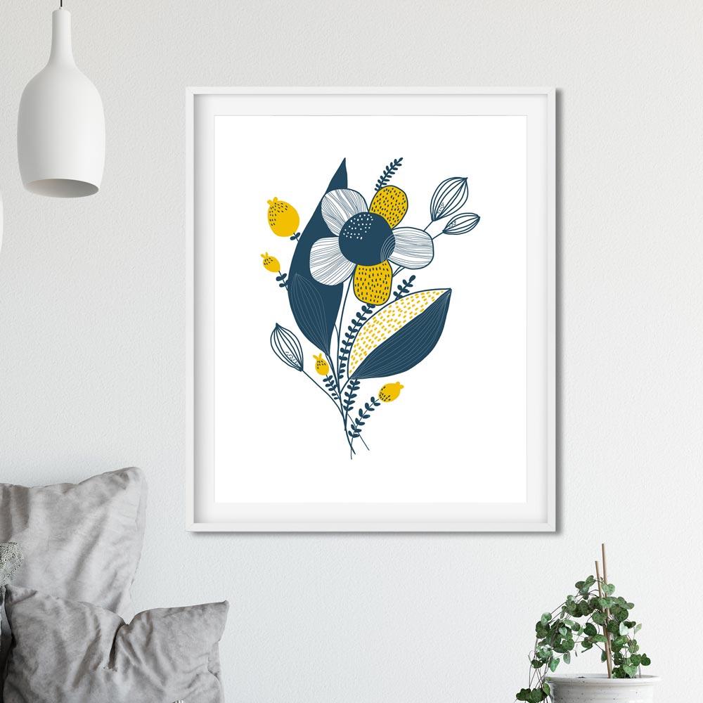 Blue yellow flower art wall in frame