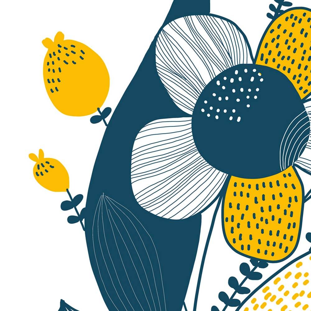 Blue yellow flower art detail