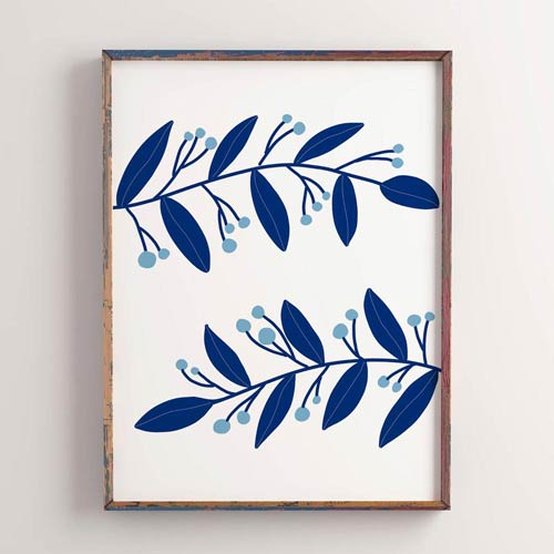 Blue botanical wall art