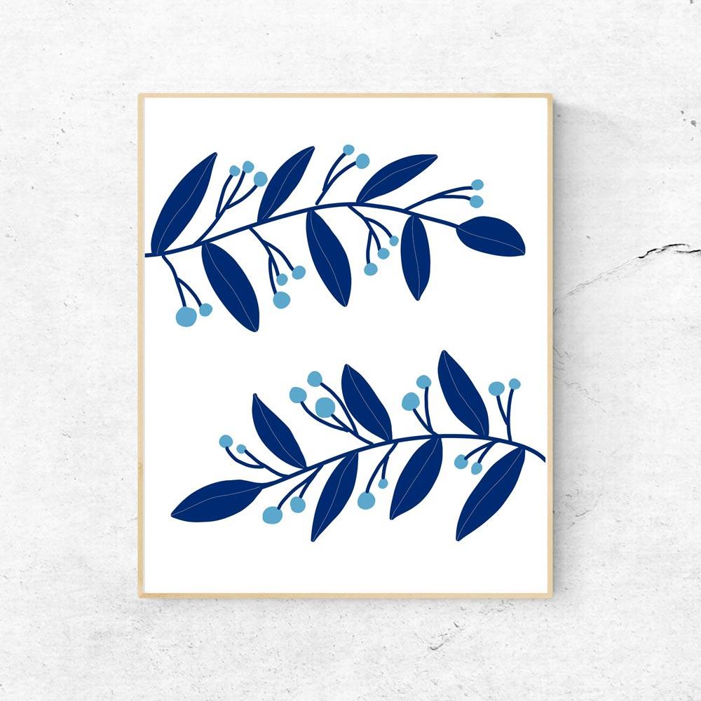 Blue botanical art decor