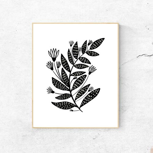 Floral black and white wall art