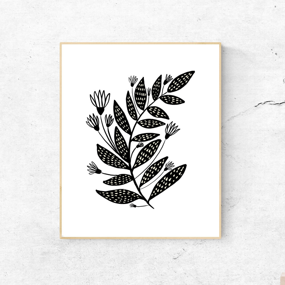 Floral black and white printable wall art