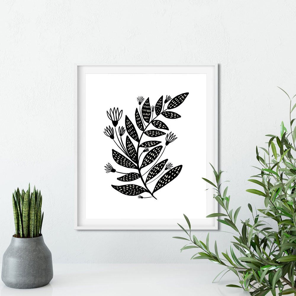 Floral black and white wall art ptint