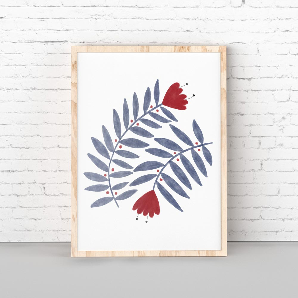 Folk flower printable wall art