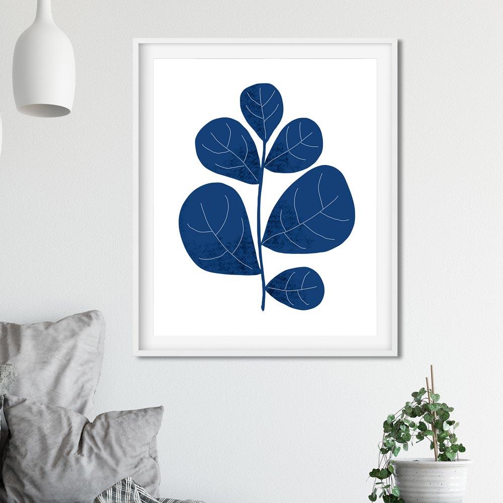 Navy leaf wall art ptint