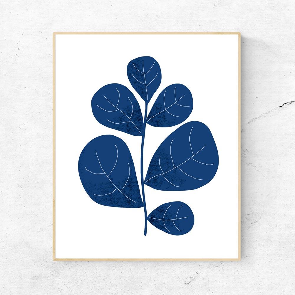 Navy leaf scandinavian wall art