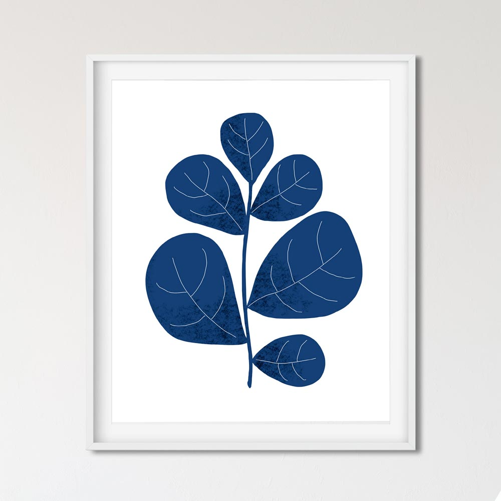 Navy leaf scandinavian art wall in frame
