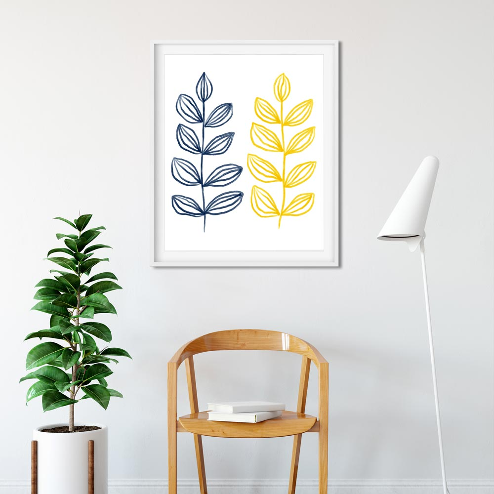 Modern botanical  art wall in frame