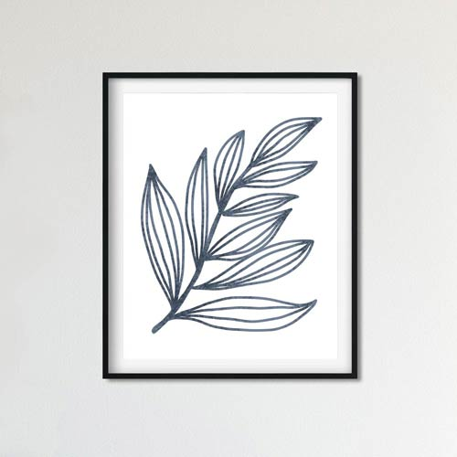 Blue leaf wall art
