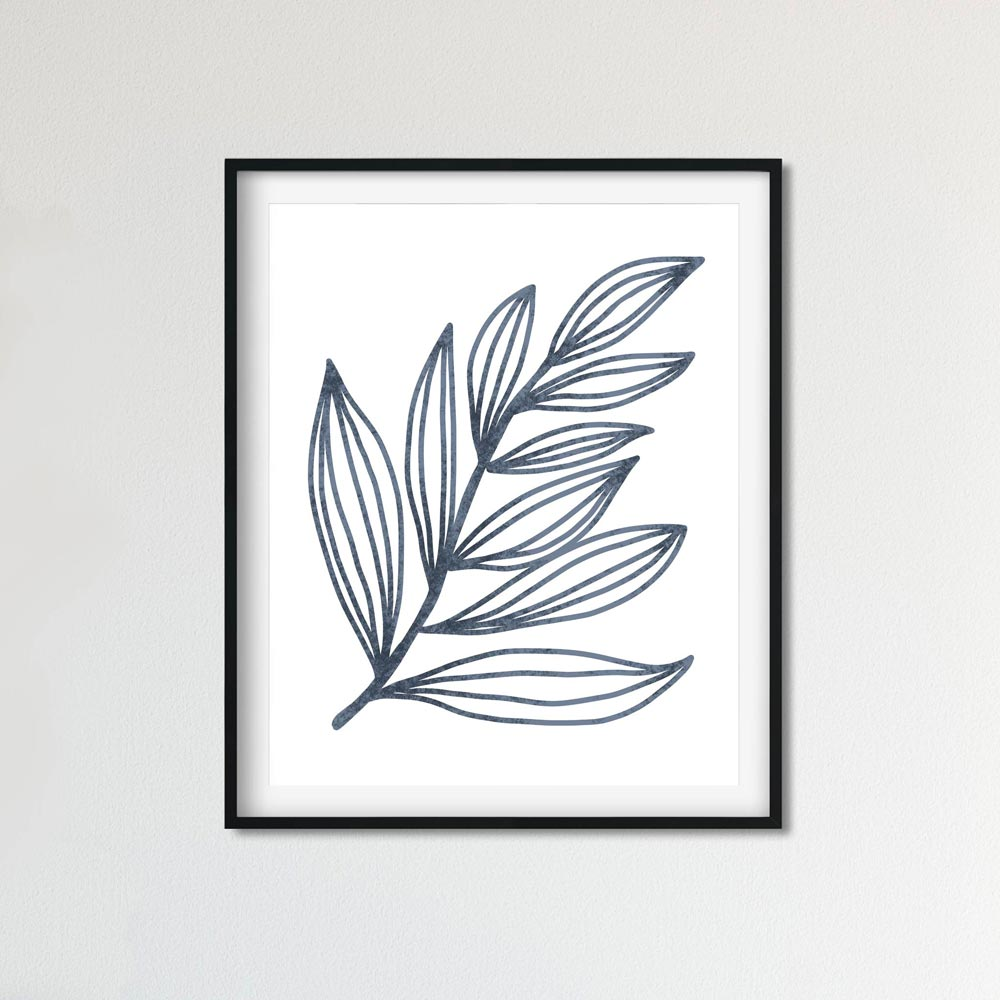 Blue leaf wall art print