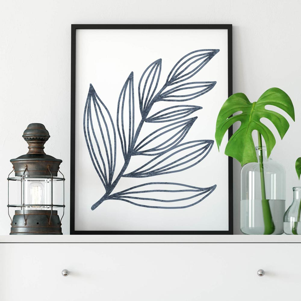 Blue leaf printable wall art