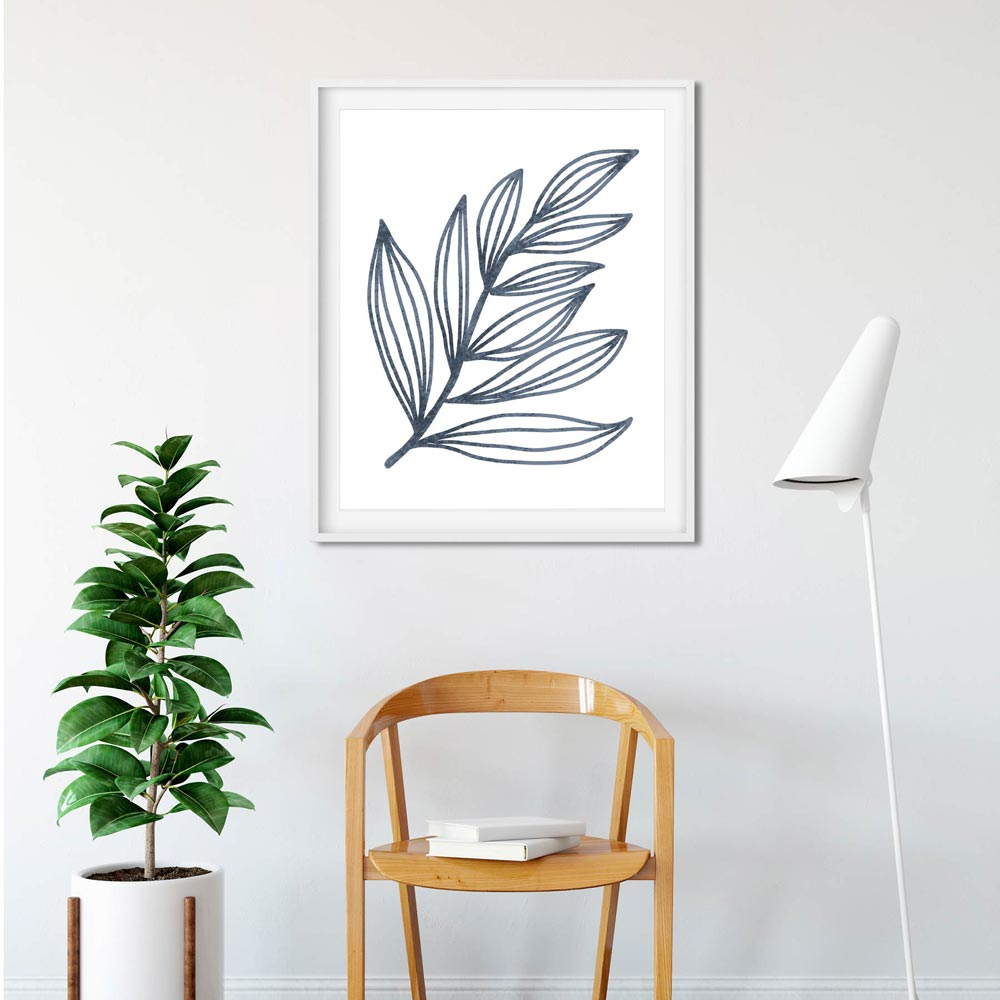 Blue leaf art in frame