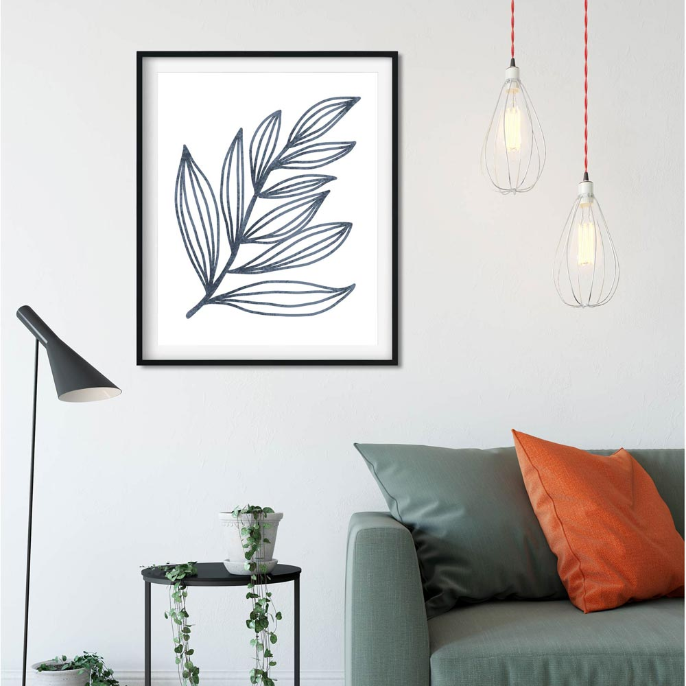 Blue leaf wall art poster