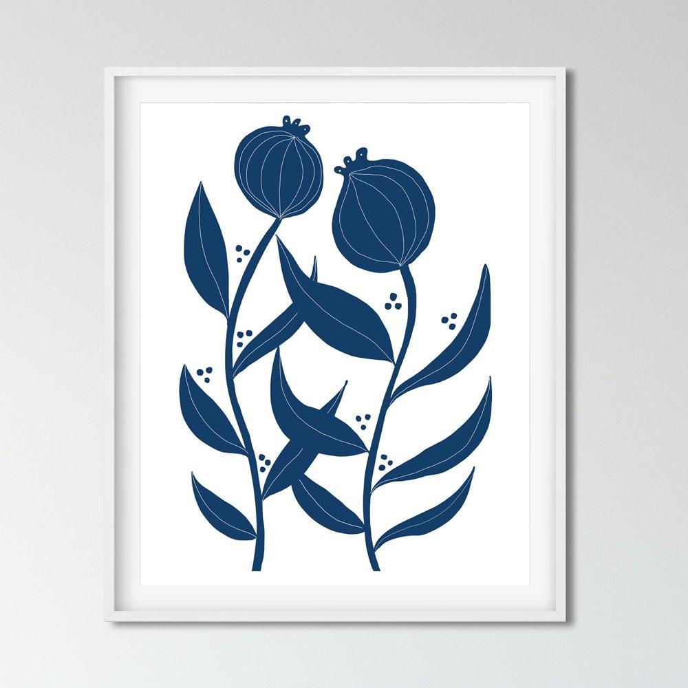 Two blue flowers scandinavian art wall in frame