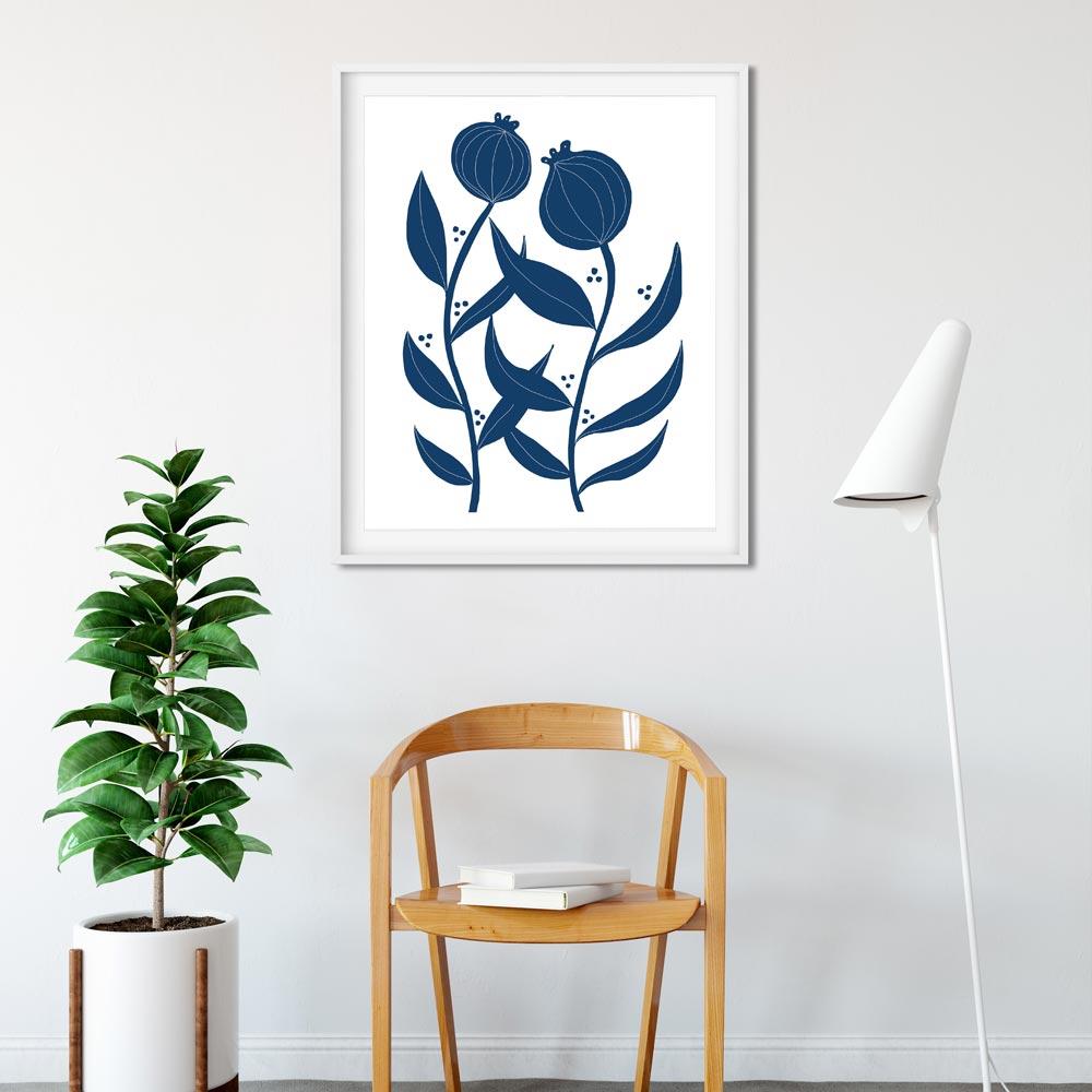 Two flowers scandinavian wall art ptint
