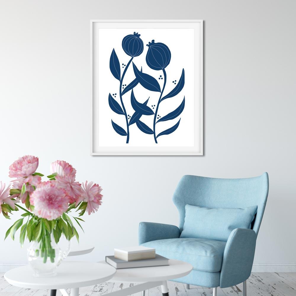 Two blue flowers printable art frame