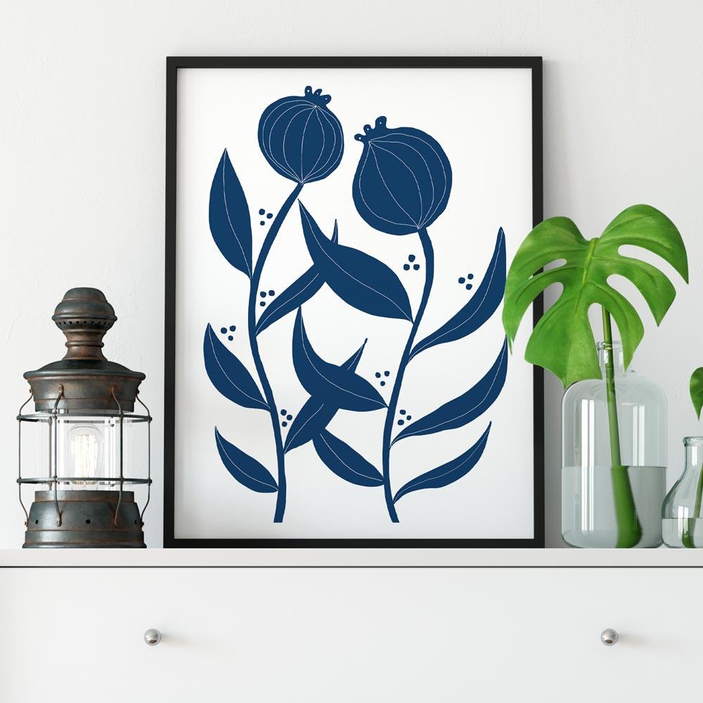 Two blue flowers scandinavian art decor