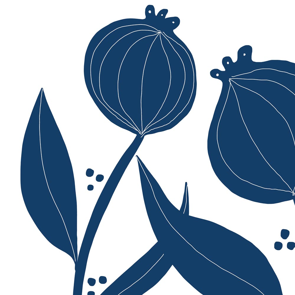 Blue flowers wall art detail