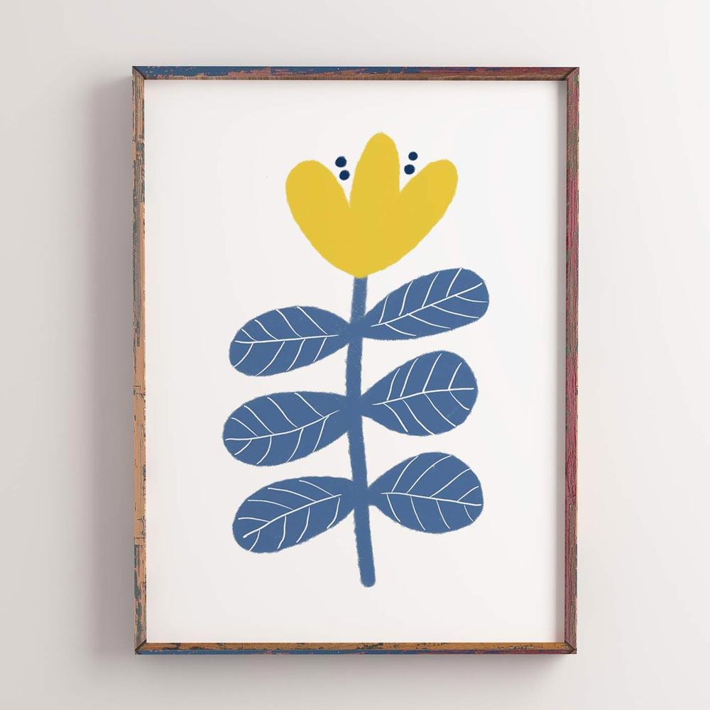 Scandi flower wall art ptint