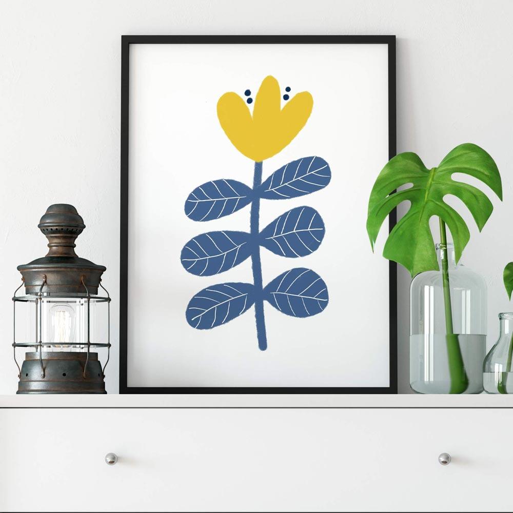 Scandi flower printable art frame