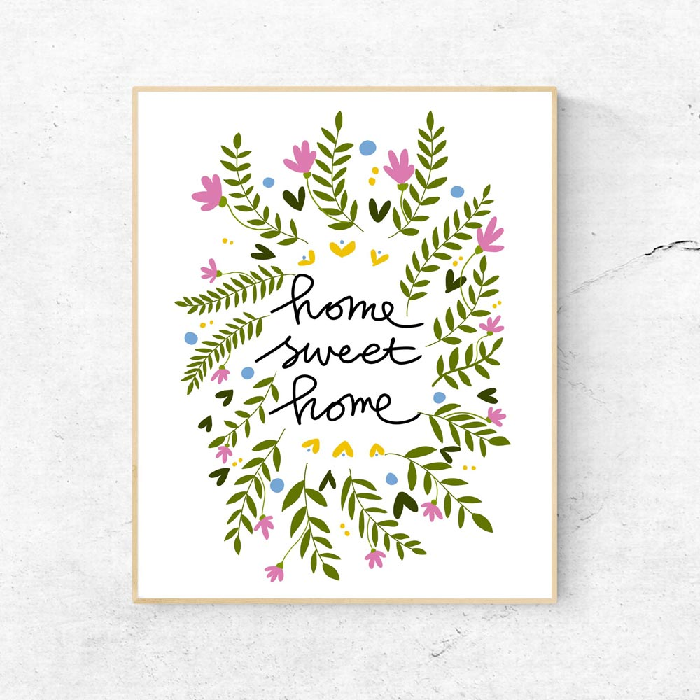 Home sweet home quote wall art