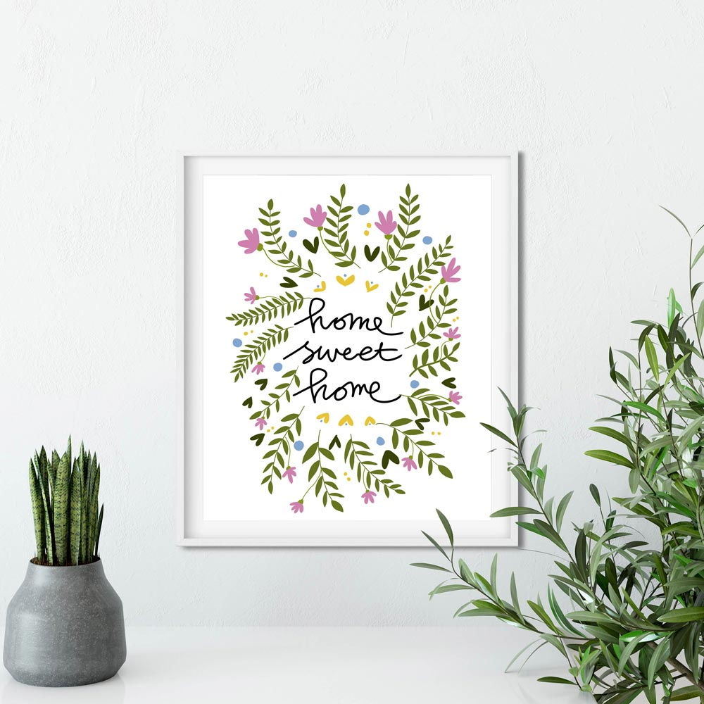 Home sweet home illustration printable art