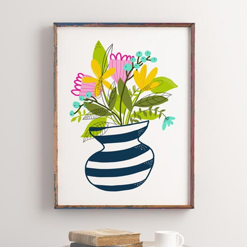 Wildflowers bouquet on a vase wall art