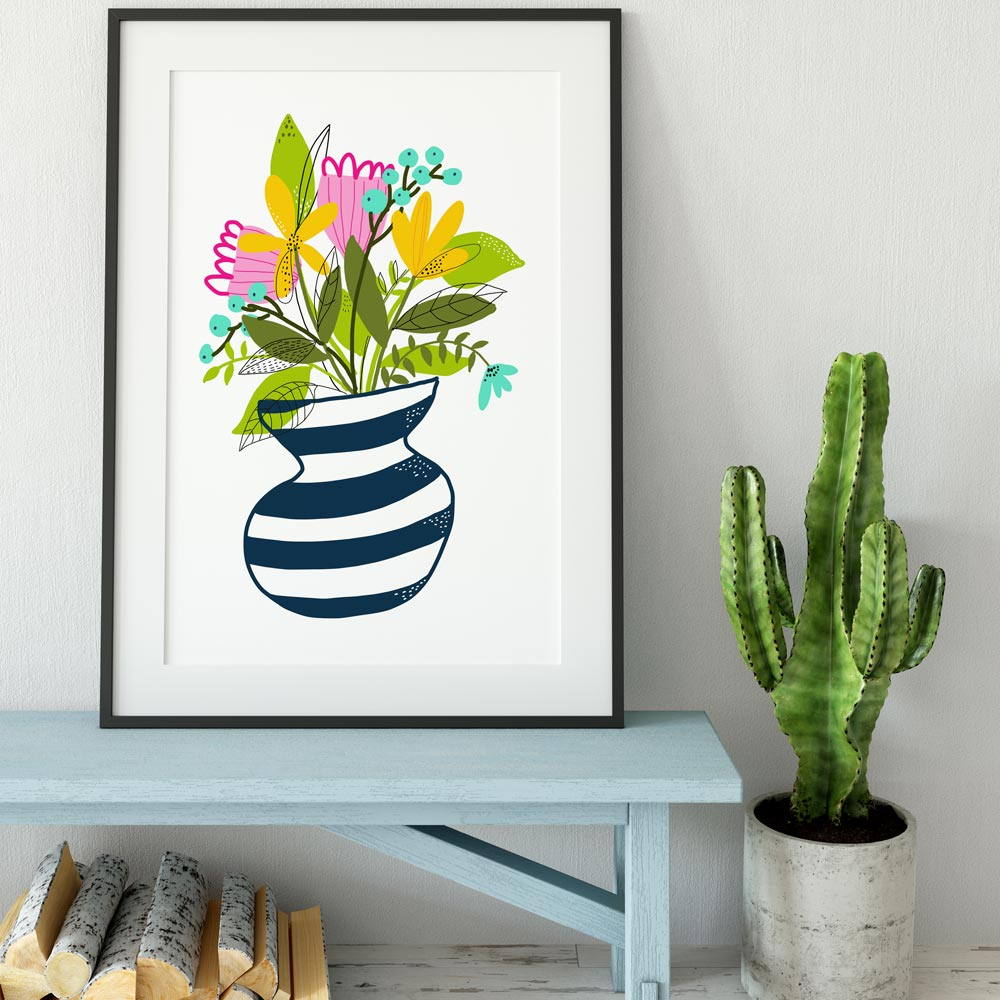 Wildflowers bouquet on a vase printable wall art