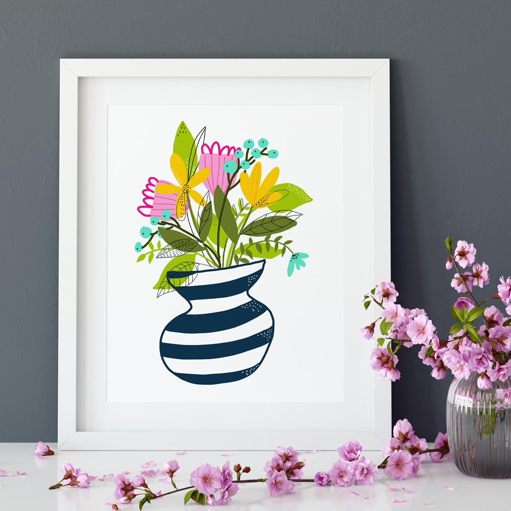 Wildflowers bouquet on a vase wall art ptint