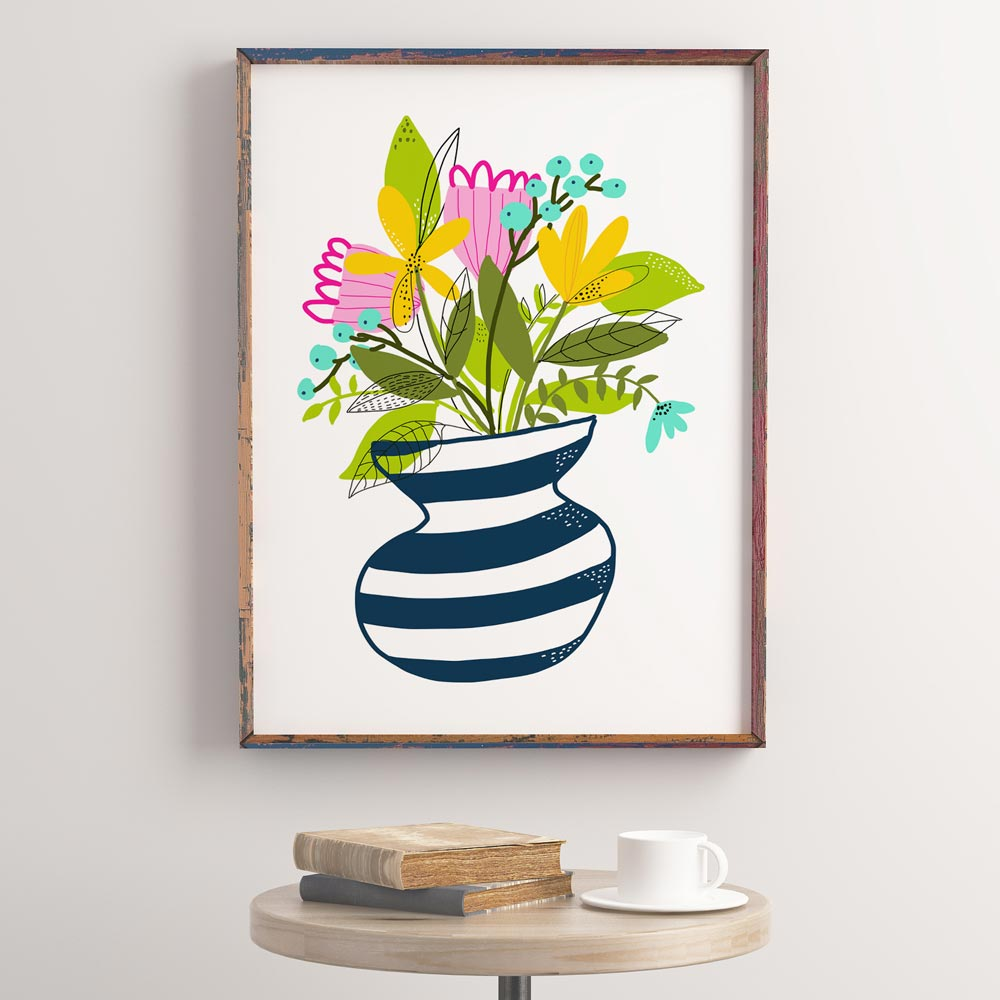 Wildflowers bouquet art wall in frame